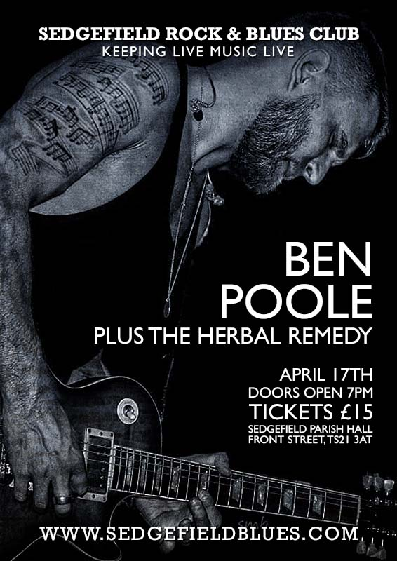 Ben Poole at Sedgefield Blues Club Friday 17th April 2020